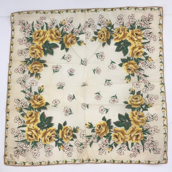 True Vintage Yellow Roses Handkerchief